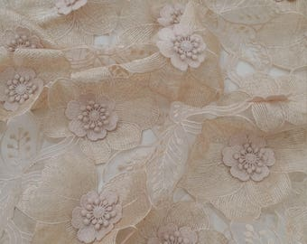 Beige lace fabric, 3D Beaded French Lace fabric, Alencon Lace, Bridal lace, Wedding Lace, Brown Pearl lace, Sequin Lac, Beaded lace N20222