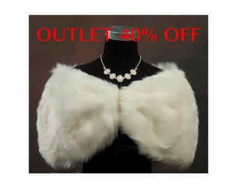 OUTLET 40% OFF Faux Fur Wrap Bridal Bolero Shawl Wedding Shrug Stole Jacket Accessories