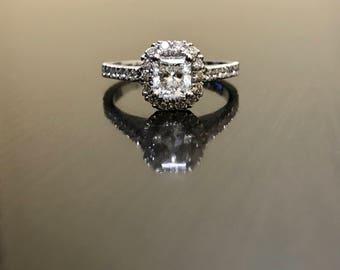 Radiant Cut Diamond Engagement Ring - Diamond Wedding Ring - 14K White Gold Diamond Ring - Radiant Cut Ring - 14K Gold Pave Diamond Ring
