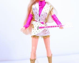 Rock N Curl Jem Doll in Rare Fashion - 24 Carat Sound, Music is Magic, Rare Vintage Jem and the Holograms, Hasbro 80s, vintage jem dolls