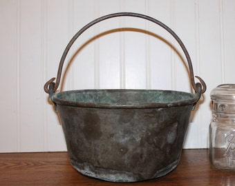 Antique Heavy Copper Pot with Handle Patina
