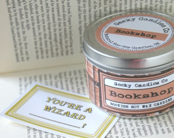 Bookshop Candle - Scented CANDLE Book Candle  - Book Scented Candle -Soy Candle - Container Candle  Bookish Gift