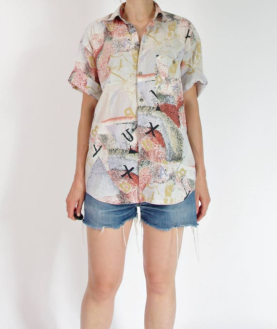 SALE - 90s Pierre Hector expressionist button up cotton shirt / size S-L