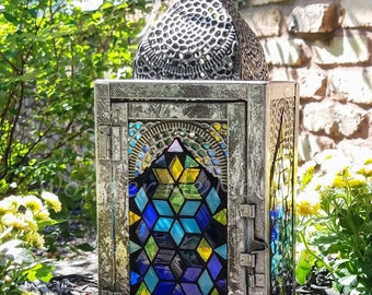 Stained Glass Mosaic Lantern - Geometric Puzzle Arch