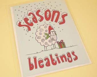 Seasons Bleatings sheepy Christmas card - original illustration, Christmas card, greetings card