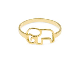 Elephant Ring, Gold Elephant Ring, Elephant Jewelry, Animal Ring, Gold Plated Ring, Bohemian Ring, Unique Jewelry, Creative Gift, Women Ring