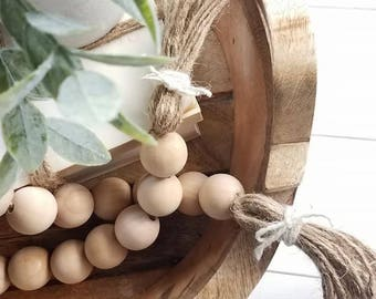 Wood Bead Garland - 3ft - Bead Garland - Farmhouse Decor - Farmhouse - Garland - Wood Beads - BoHo - Little Bo Peep - FREE SHIPPING