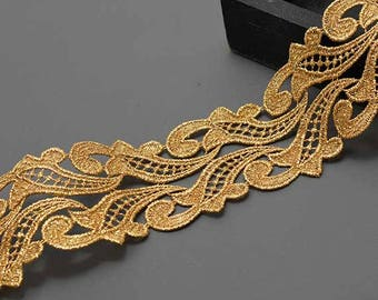 Metallic Lace Trim for Bridal, Costume or Jewelry, Crafts and Sewing, 3 Inch by 1 Yard, LP-MX-1316