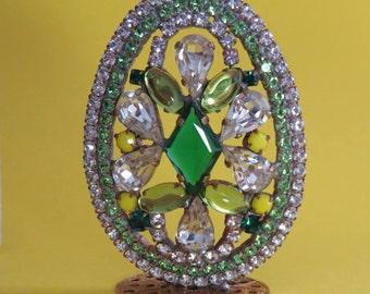 Vintage Easter Egg Czech Glass Stones Rhinestones Free Standing