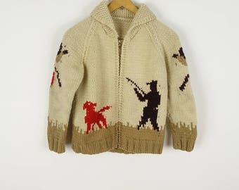 Vintage 50s Children's Cowichan Sweater Wool Zip Cardigan Pheasant Bird Hunting