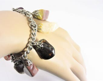 Vintage Polished Agate Stone Charm Bracelet