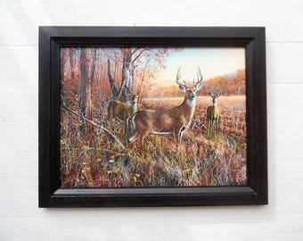 Deer Picture, The Gathering, Jim Hansel Print, Wildlife Art Print, Buck Picture, Wall Hanging, Handmade 19X15 Custom Wood Frame, Made in USA