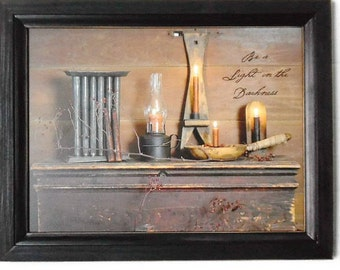 Primitive Decor, 'Be a Light in the Darkness', Billy Jacobs, Art Print, Wall Hanging, Handmade, 19x15, Custom Wood Frame, Made in the USA
