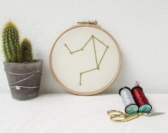 Libra star sign gift, Hand embroidery hoop art, October birthday gift, sparkly wall hanging, modern embroidery, handmade in the UK