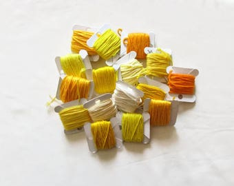 Embroidery thread bundle, yellow and orange, embroidery cotton, stranded embroidery floss, cross stitch supplies, stranded cotton
