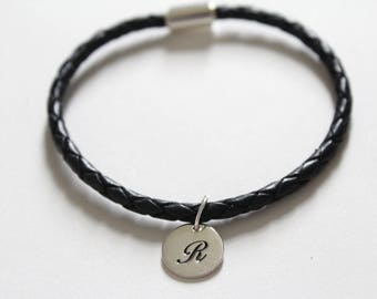 Leather Bracelet with Sterling Silver Cursive R Letter Charm, Bracelet with Silver Letter R Pendant, Initial R Charm Bracelet, R Bracelet