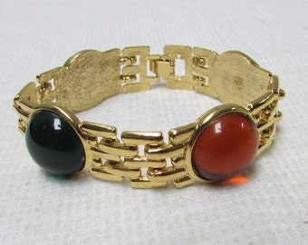 Vintage  chunky  70's  link bracelet with faux gemstone cabs estate find bridal wedding prom