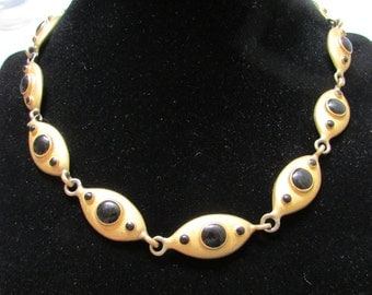 STUNNING Erwin Pearl modernist matte antique gold and black choker necklace designer 80's FREE shipping USA only