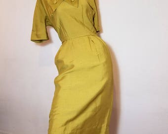 FREE  SHIPPING    1950 Silk Hourglass  DRESS