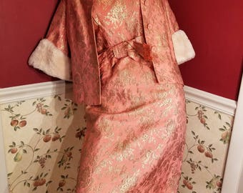 FREE  SHIPPING  1950  Brocade  Dress  Suit