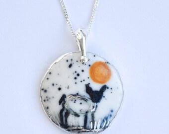 beautiful sheep design necklace.
