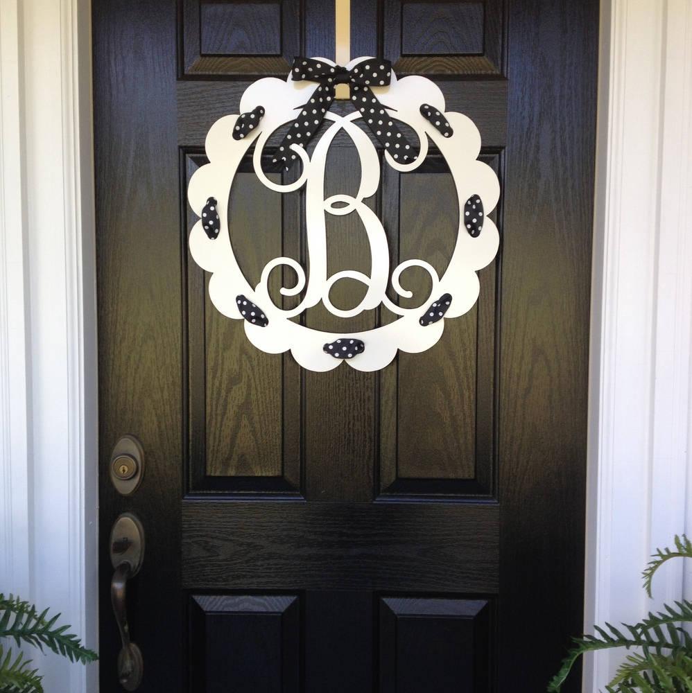 Garland For Front Door: Monogram Door Wreath Front Door Monogram Front Door Wreaths