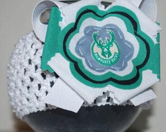 Milwaukee Bucks Fabric Flower Headband for Baby