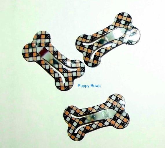 Puppy Bows ~BROWN PLAID or WHITE Barrette snap clip dog bone shape bow Maltese ~Usa seller