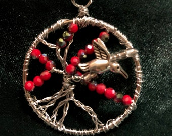 Red or Blue Tree of Life with Hummingbird Pendant