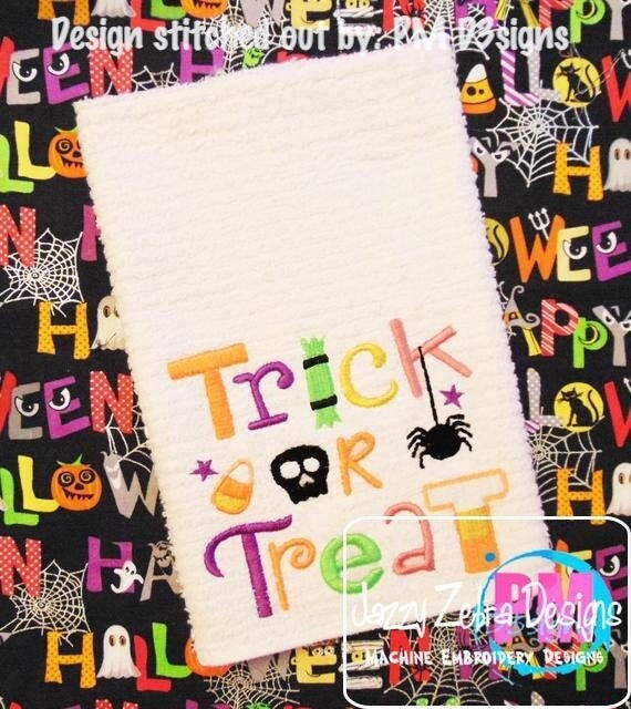 Trick or Treat saying Halloween embroidery design - halloween embroidery design - candy embroidery design - saying embroidery design
