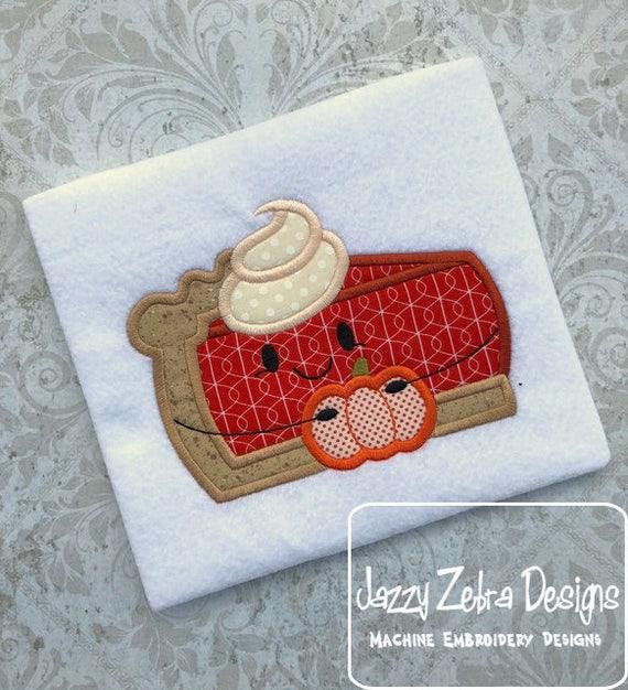 Pumpkin Pie with Pumpkin appliqué embroidery design - pie appliqué design - pumpkin appliqué design - fall appliqué design - Thanksgiving