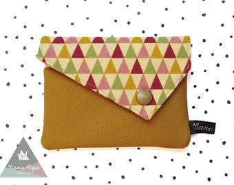 Purse / Wallet / Pocket: Triangles & Leatherette Yellow Ochre