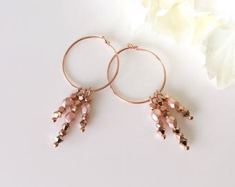 Bridesmaid Earrings Blush Earrings Gift For Bridesmaid Pink Bridesmaid Dress Teen Gift Rose Gold Earrings Wedding Earrings Blush Crystals