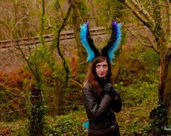 Rabbit Ears & Tail Set! Large Black Blue Purple Rabbit Ear Headband and Cute Blue Bunny Tail! Big Large Ears Partial Fursuit Theatre Costume