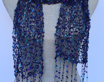 Scarf, Hand knit, blue and purple