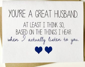 Funny Love Card - Husband Card - Card for Him - Marriage Card - Anniversary Card