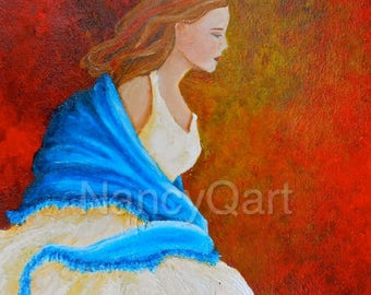 Beauty painting from Beauty and the Beast, beautiful woman art, lady in dress painting by Nancy Quiaoit at Nancys Fine Art.