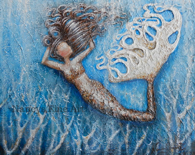 Original hand painted mermaid painting,  textured mermaid art on canvas, original mermaid painting by Nancy Quiaoit.