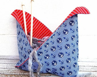 ANCHOR BENTO BAG Japanese Origami Basket Nautical Knitting Crochet Sewing Craft Project Tote Reversible Shopping Handmade Fabric Gift