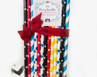 SUPERHERO Party Straws for boy birthday party -Paper Straws - Spiderman -Stars -Captain America -Red Blue Yellow Straws Mulitpack -Baby boy