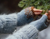 Icelandic Fingerless Mittens / Gloves Hand Knit in Rust, Ash and Air Blue/ Lett Lopi