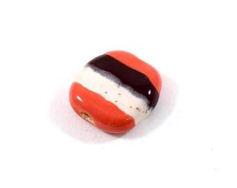 Pink Brown White Kazuri Bead, Ceramic Bead, Striped Bead, Lentil Bead, Pita Pat Bead
