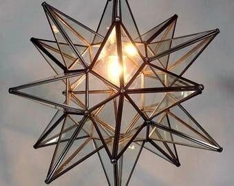 "Moravian Star Pendant Light, Clear Glass, 19"""
