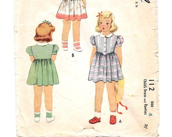 1940s Girls DRESS and Panties ~ Vintage Sewing Pattern ~ Size 4 ~ Button front Dress ~ Gathered Skirt ~ Puff Sleeves ~ Peter Pan Collar
