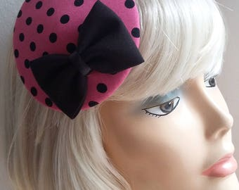 Headpiece with Polkadots, pink and black!