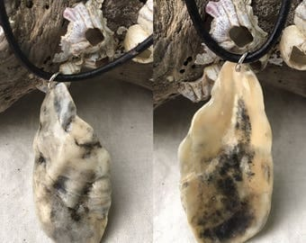 Black, gray, and beige seashell remnant pendant necklace (glossy)