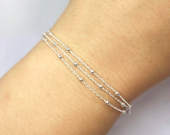 Triple Layered Dainty Chains Sterling Silver Bracelet, Sterling Silver Satellite Chain Bracelet, Layering Bracelet, Adjustable Bracelet