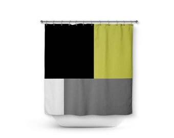 Color Block Shower Curtain, Grey White Black Chartreuse Green, Home Decor,  Bathroom Decor
