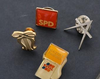 Set of 4 Pins - Vintage Lapel Pins - Silver & Gold Lapel Pins