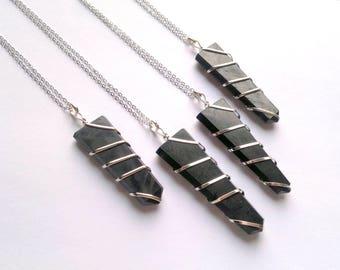 Shungite Necklace Shungite Pendant Shingite Jewelry Black Stone Necklace Black Crystal Point Necklace Silver Shungite Black Point Necklace